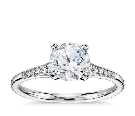 1 Carat Preset Graduated Milgrain Diamond Engagement Ring