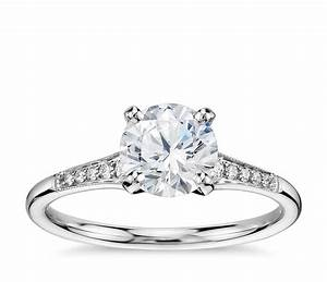 1 carat preset graduated milgrain diamond engagement ring for Wedding ring 1 carat diamond