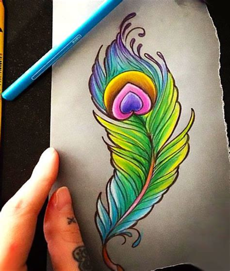 colorful peacock feather tattoo design ptitsy feather