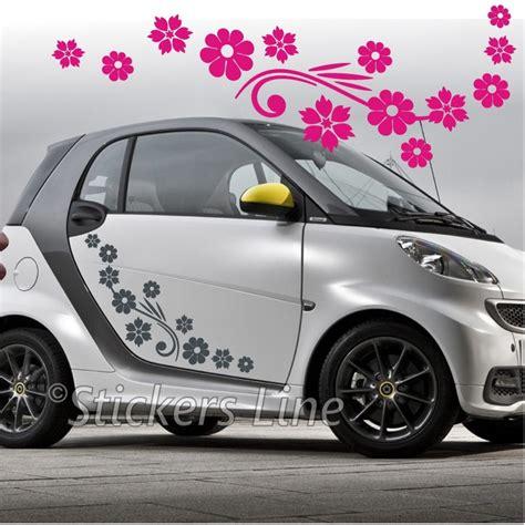 adesivi auto fiori kit adesivi fiori mod 5 74 pezzi smart fiat 500 fiori