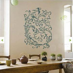 cuisine decoration murale pochoir adhesif boheme chic With pochoir peinture murale deco