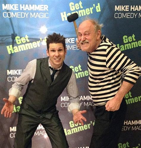 comedian gallagher visits mike hammer s comedy magic show at four hotel in las vegas