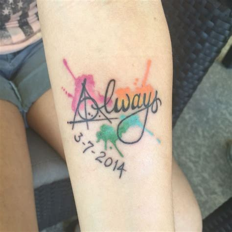 harry potter inspired watercolor tattoo  love