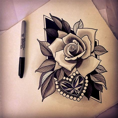 heart rose tattoo images  pinterest rose
