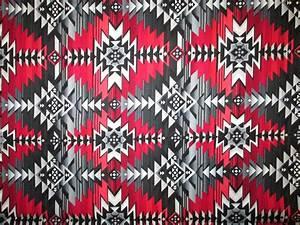 Navajo Native American Red Black Gray Print Cotton Fabric ...