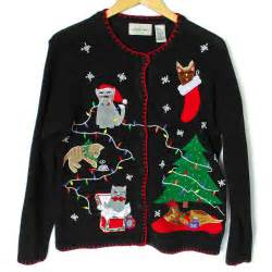 deformed kitties and grumpy cat tacky sweater the sweater shop