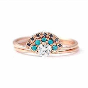 diamond ring with turquoise and black diamond wedding by With diamonds wedding rings