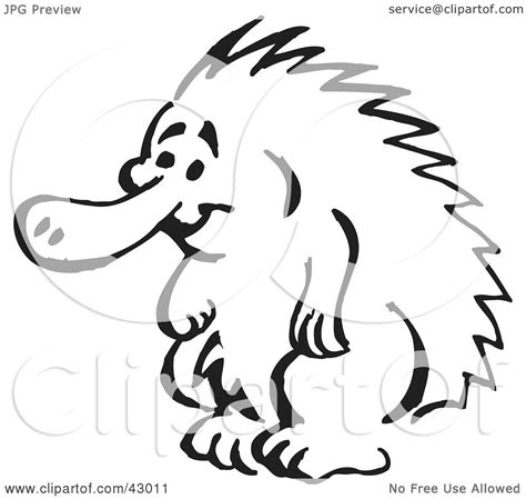 echidna clipart clipart illustration of a black and white standing echidna