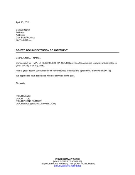 decline extension  agreement template sample form