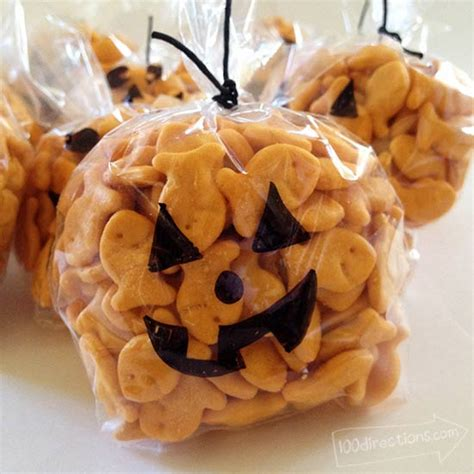 goldfish filled mini pumpkin halloween treats  directions