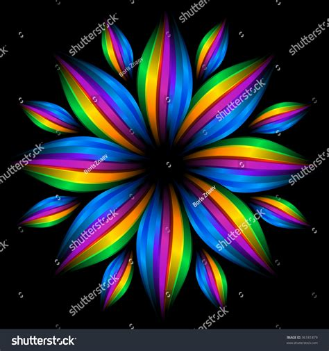Abstract Rainbow Black Background by The Abstract Rainbow Flower On Black Background Stock