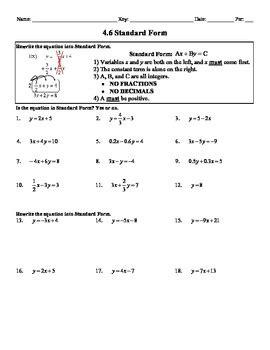 Holt Algebra 46 Standard Form (not In Book) Worksheet Doc