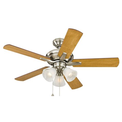 harbor breeze fan downrod shop harbor breeze lansing 42 in brushed nickel indoor