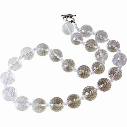 Transparent Crystal Quartz Rock Necklace 16mm Faceted