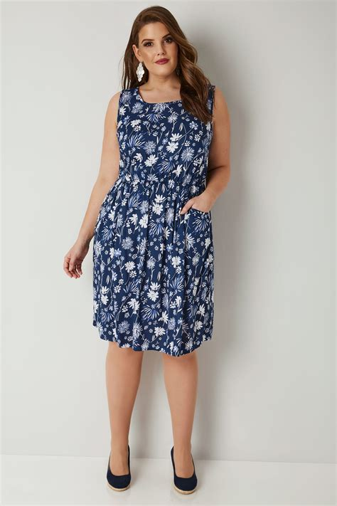wedges tali br blue white floral print pocket dress with elasticated