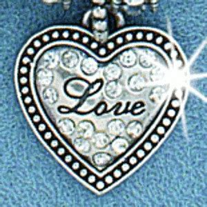 Mf29122 Silver Love Heart Charm With White Crystals Add