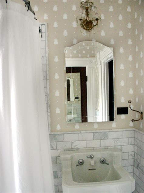 traditional bathroom  fun wallpaper hgtv