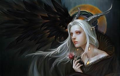 Demon Fantasy Wallpapers Female Woman Hair Horned