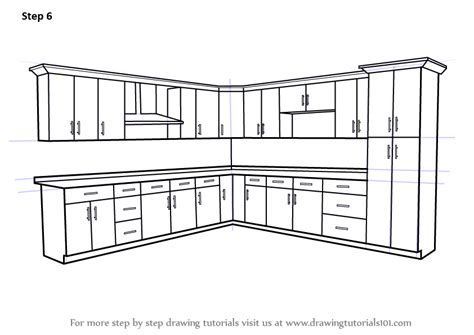 kitchen cabinet drawing learn how to draw kitchen cabinets furniture step by 2485
