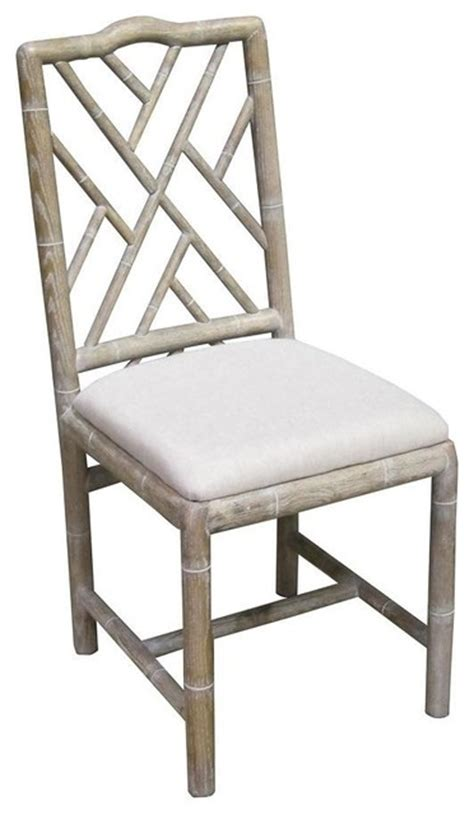 dining chair whitewash white faux bamboo solid oak linen