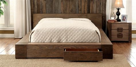 queen natural wood platform bed frame  drawers