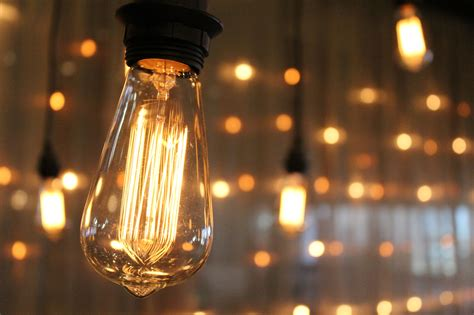edison bulb wall in the event