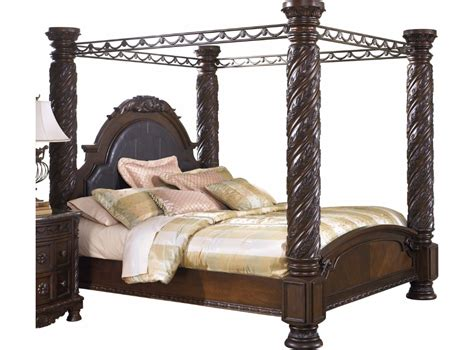 north shore king canopy bed  dark wood ashley