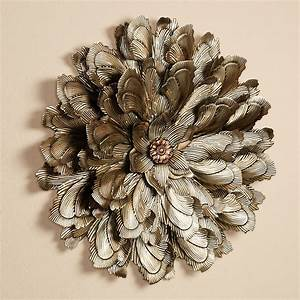 Delicate flower blossom metal wall sculpture