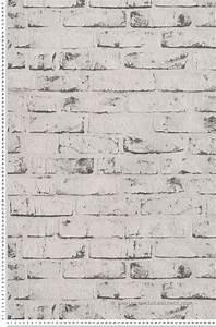Papier Peint Pierre Blanche : papier peint briques blanches et grises collection new ~ Dailycaller-alerts.com Idées de Décoration