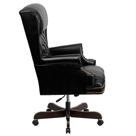 high back traditional tufted black leather executive