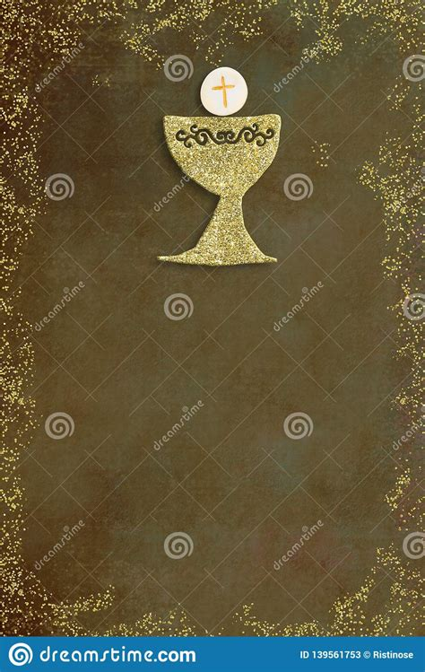 First Holy Communion Invitation Card Stock Image Image