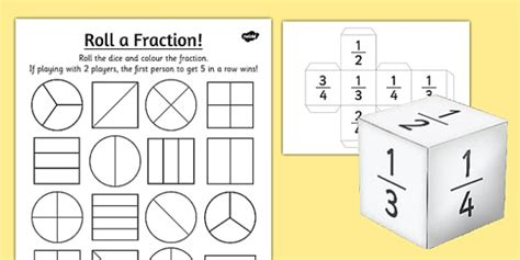 Year 2 Roll A Fraction Worksheet / Activity Sheet