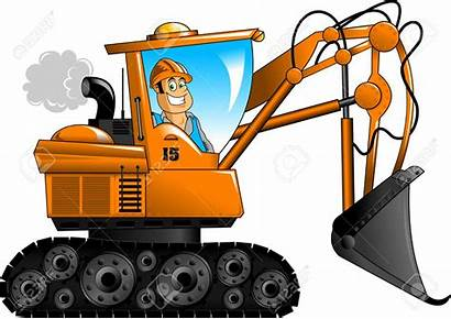 Excavator Clipart Bagger Equipment Cartoon Bulldozer Digger