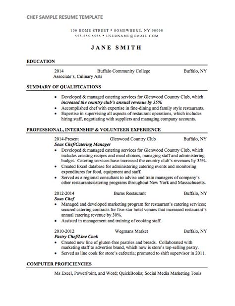 chef resume template chef resume sle internships