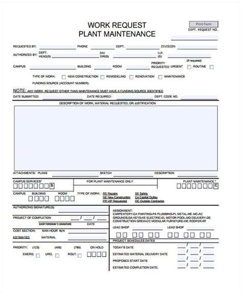 19885 work order form sle maintenance work order form effortless capture