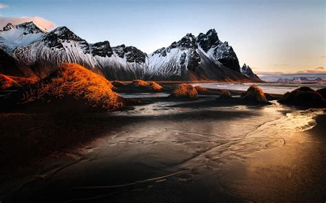 vestrahorn iceland winter sunrise landscape sea coast