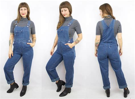Vintage 90's Slim Fit Blue Denim Overalls / 1990's Jean