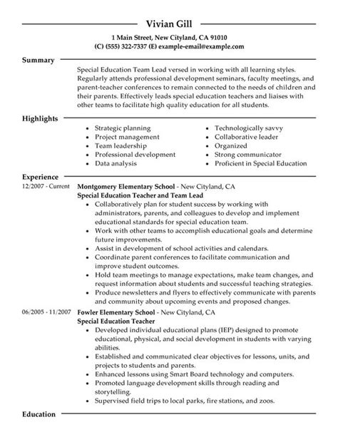 Educational Leadership Resume Template by Exle Resume Team Leader Resume Exle