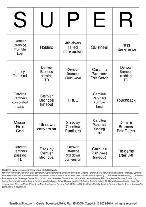 printable superbowl bingo  super  superbowl