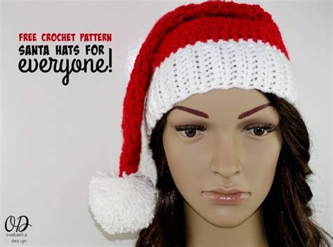 make crochet santa hats for all sizes with this easy free