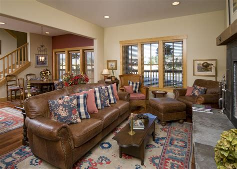 Light Brown Leather Couch Living Room Traditional With
