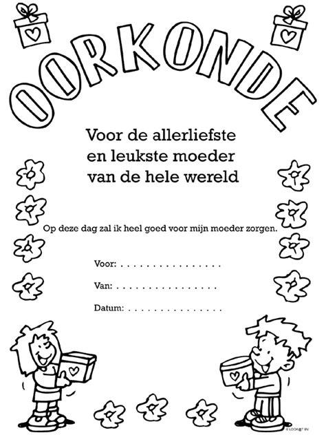 Moederdag Kleurplaat by Kleurplaten Kleurplaat Voor Moederdag 2015 Oorkonde