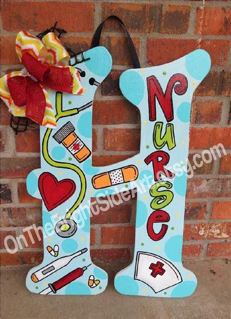 large door hanger nurse initial letters   onthebrightsideart crafts nurse crafts wood