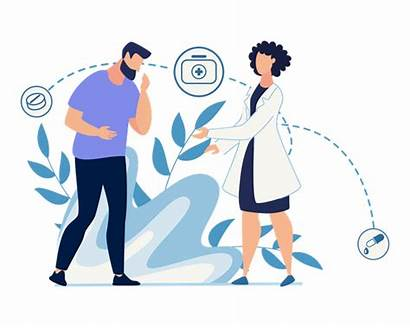 Patient Doctor Illustration Checking Lady