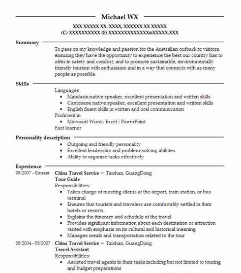 Resume Guide by Tour Guide Objectives Resume Objective Livecareer