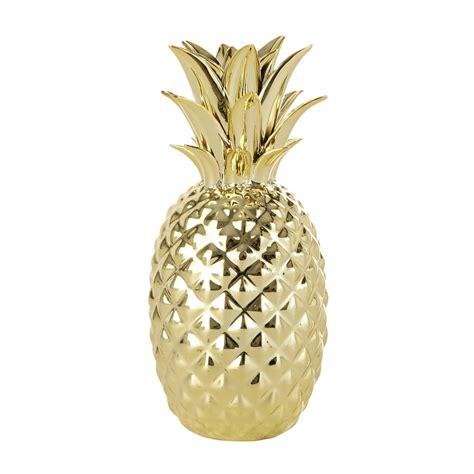 deco de chambre de bebe statuette ananas dorée h 23 cm maisons du monde