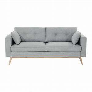 Sofas Maison Du Monde : maisons du monde canap 3 places en tissu gris clair ~ Watch28wear.com Haus und Dekorationen