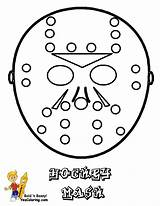 Coloring Hockey Mask Sheets Sheet Goalies Yescoloring Trick Hat Sports Players sketch template