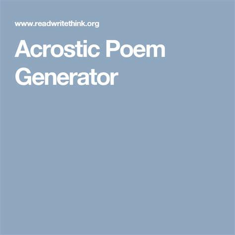 Poems Generator Acrostic Poem Generator Language Arts Language Arts