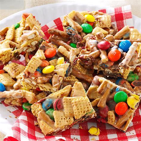 snack mix squares recipe taste of home